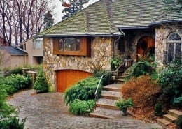 Private Residence-Providence East Side Fieldstone Veneer-House, Cobblestone Driveway
